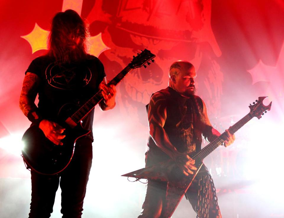 Gary Holt (left) and Kerry King perform with the band Slayer, one of the acts scheduled to appear at the Sinclair club in Harvard Square.